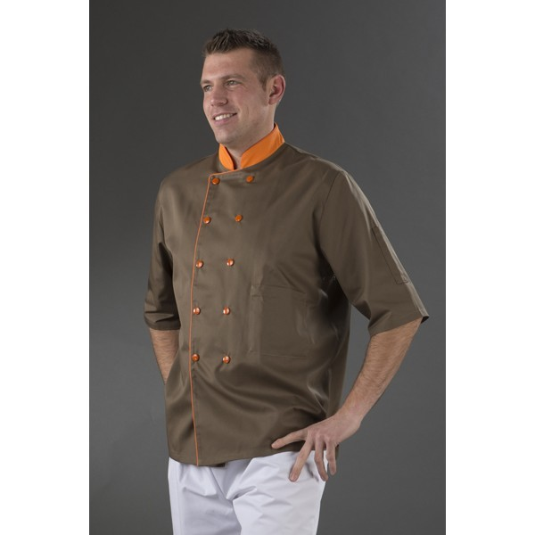 Veste cuisine marron col orange double pressions orange my tablier Veste de cuisine orange