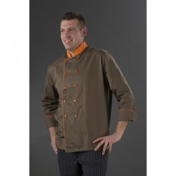 Veste chocolatier manches longues double pressions orange