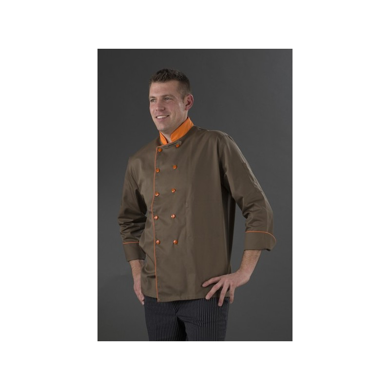 Veste chocolatier manches longues double pressions orange my tablier Veste de cuisine orange