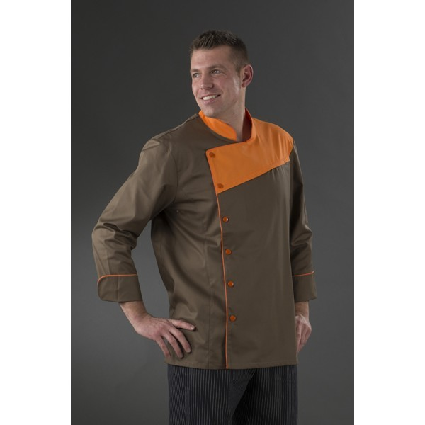 Veste de cuisine moderne chocolat avec plastron orange my tablier Veste de cuisine orange